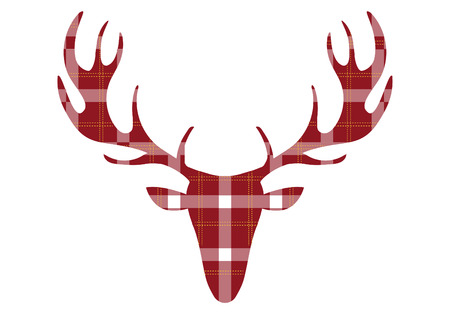 Deer head on tartan backgrounds,Vector illustrations Illustration