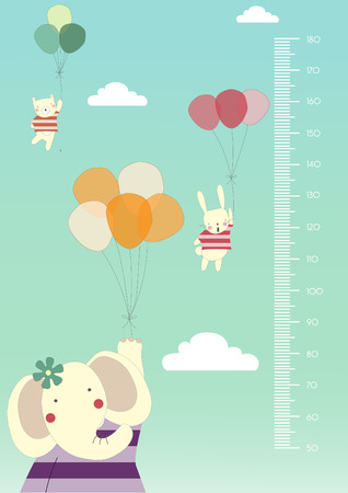 height chart: Balloon cartoons ,Meter wall or height meter from 50 to 180 centimeter,Vector illustrations