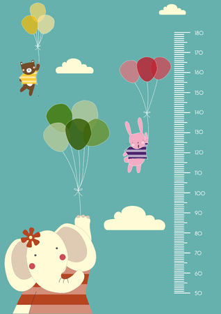 height: Balloon cartoons ,Meter wall or height meter from 50 to 180 centimeter,Vector illustrations