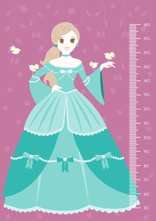 height chart: Beautiful princess keeping bird with meter wall or height meter from 50 to 180 centimeter,Vector illustrations