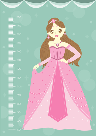Beautiful princess with meter wall or height meter from 50 to 180 centimeter,Vector illustrations Illustration
