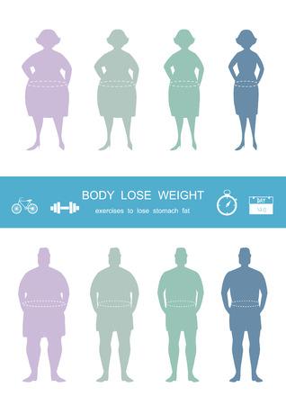 Silhouettes de l'homme et les femmes à perdre du poids, infograpnics, perdre du poids, illustrations vectorielles