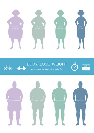 Silhouettes of man and women losing weight,infograpnics,lose weight,Vector illustrations