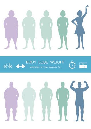 Silhouetten van man en vrouwen die gewicht, infograpnics verliezen, gewicht verliezen, Vectorillustraties