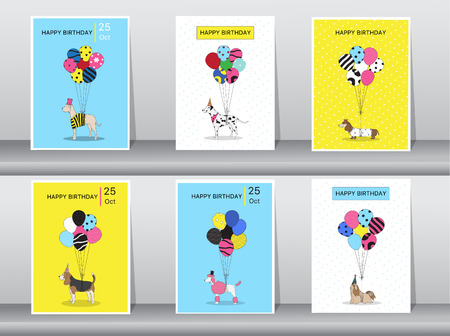shih tzu: Set of birthday cards,vintage color,poster,template,greeting cards,balloons,animals,dogs,Vector illustrations
