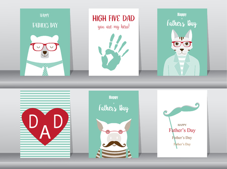handprints: Set of Happy Fathers Day card ,poster,template,greeting cards,cute,bear,cats,pig,animals,Vector illustrations