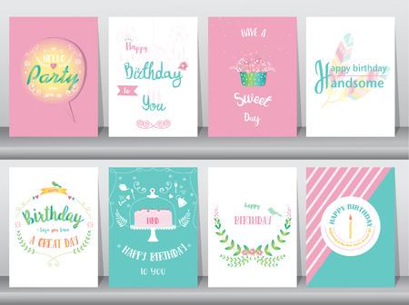 Jeu de cartes d'anniversaire, affiche, modèle, cartes de voeux, douce, ballons, gâteau, plume, illustrations vectorielles
