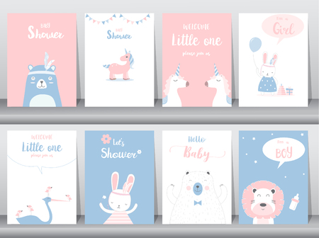 Set of baby shower invitations cards, poster, greeting, template, animals, Vector illustrations