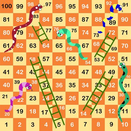 Ladder snakes game,Funny frame for children Vectores