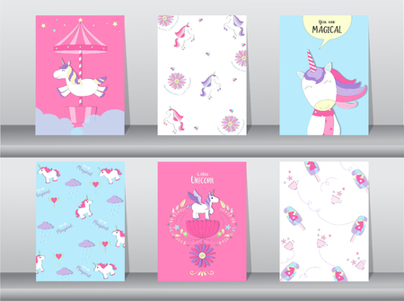 Set of cute fantasy poster,template,cards, unicorn,animals, Vector illustrations Ilustrace