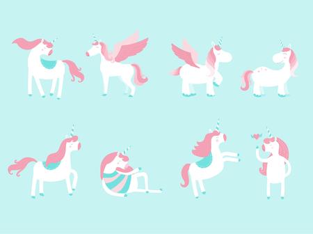 Set of cute unicorn icons on blue background