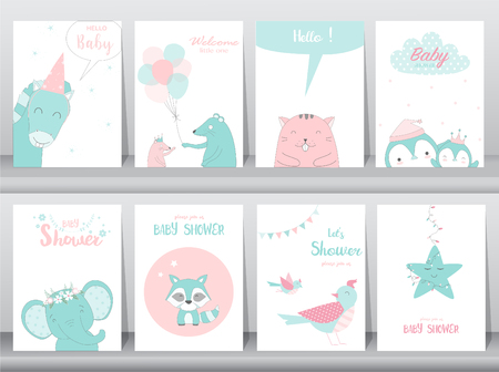 Set of baby shower invitations cards with elephants and birds