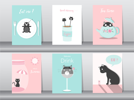 Set of cute animals  themed poster card template Vector illustration. Иллюстрация
