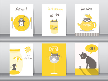 Set of cute animals poster,template,cards,cats,food,sweets, cartoons,Vector illustrations Illustration