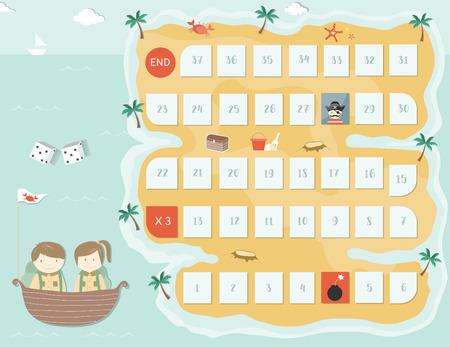 Modello di gioco da tavolo pirata, giochi da tavolo, illustrazioni vettoriali.