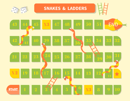 Ladder snakes game,Funny frame for children Ilustracja