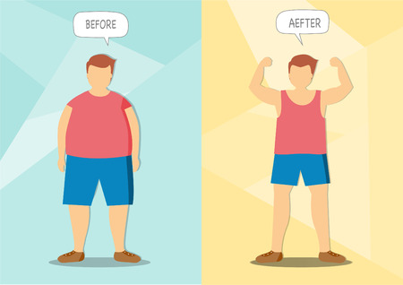 Before and after of man exercise changes,Vector illustrations Illusztráció
