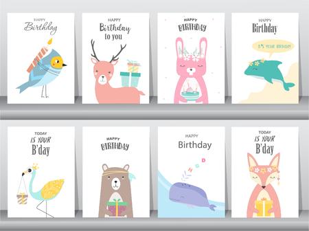 Set of birthday invitations cards poster greeting template set of birthday invitations cards poster greeting template animalsrabbit filmwisefo
