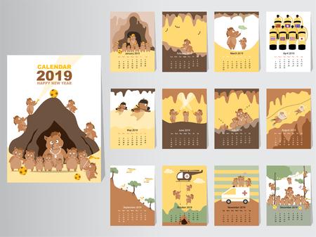 Grappige dieren kalender 2019 ontwerp, het jaar van het varken maandelijkse kaarten sjablonen, Set van 12 maanden, maandelijkse kinderen, Thaise grotredding, vectorillustraties