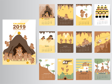 Funny animal calendar 2019 design,The year of the pig monthly cards templates,Set of 12 month,Monthly kids,Thai cave rescue, Vector illustrations
