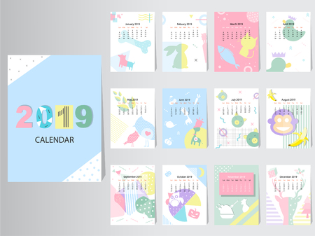 Calendar 2019 Vector Design Template with abstract pattern,Set of 12 Months,vector illustrations.