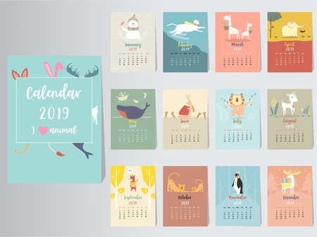 Cute animal calendar 2019 design,The year of the pig monthly cards templates,Set of 12 month,Monthly kids,cool,Vector illustrations 일러스트