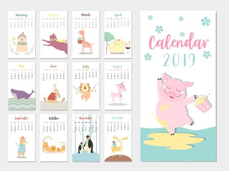 Cute animal calendar 2019 design,The year of the pig monthly cards templates,Set of 12 month,Monthly kids,cool,Vector illustrations Illustration