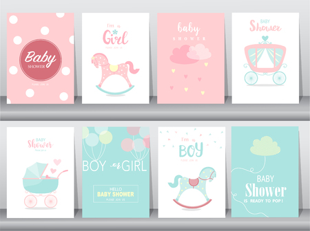 Set of baby shower invitation cards,birthday cards,poster,template,greeting cards,cute,kawaii,Rocking Horse,Vector illustrations