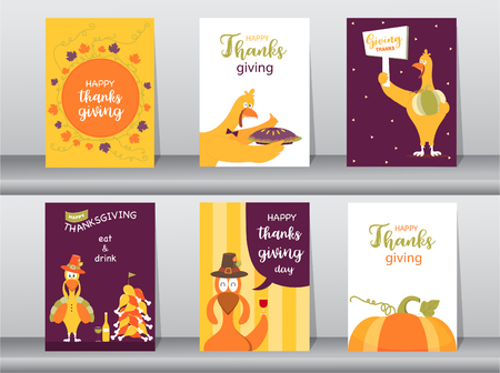 Set of Happy thanksgiving day card, design,poster,template,greeting,animal,cute,Vector illustrations