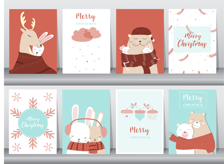 Set of cute Merry christmas  background with cute animal and christmas Tree,Lovely cartoon background with holiday symbols,Vector illustrations Illustration
