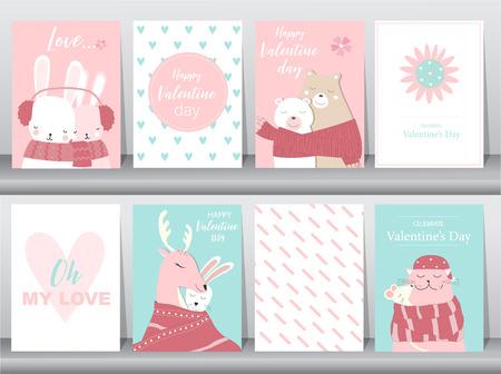 Set of Valentines day card on retro pattern design,love,animal,cute vector,animal,Vector illustrations