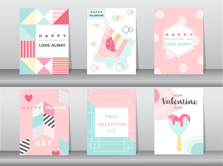 Set of Valentines day card on retro pattern design,love,cute vector,Vector illustrations Ilustração
