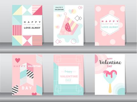 Set of Valentines day card on retro pattern design,love,cute vector,Vector illustrations Illustration