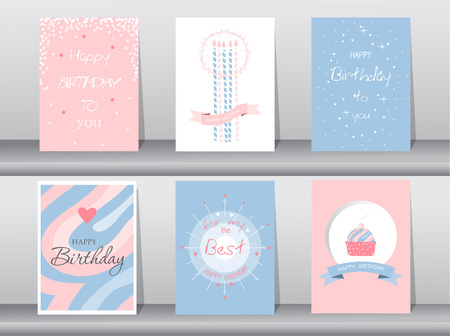 Collection of  greeting or birthday card,cake,template,vector illustrations Ilustração