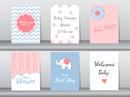 Set of baby shower invitation cards,poster,template,greeting cards,animal,elephant,dot,Vector illustrations Ilustração