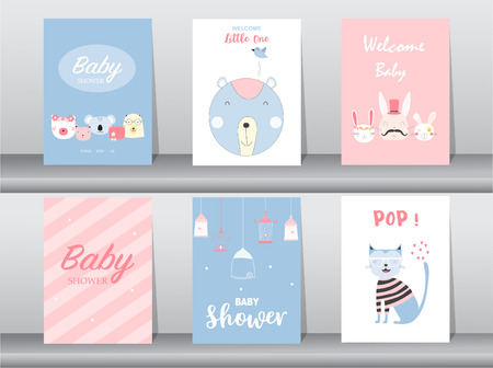 Set of baby shower invitation cards,birthday, poster,template, greeting,cute, animal,Vector illustrations