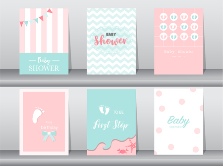 Set of baby shower invitations cards,poster,greeting,template,footprints,Vector illustrations