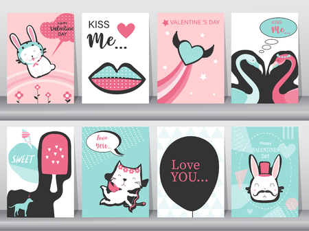 Set of Valentines day card on retro pattern design,love,animal,minimal,lips,cute,Vector illustrations