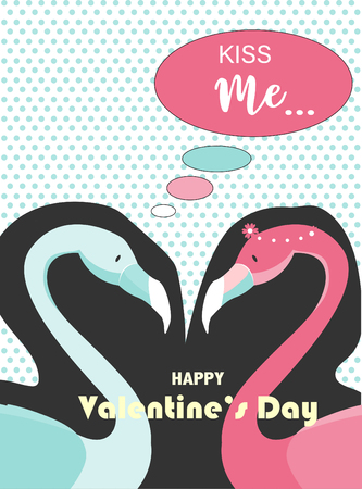Valentines day on retro pattern design,greetings card,template,zine culture,minimal,sweet,stork,cute, Vector illustration.