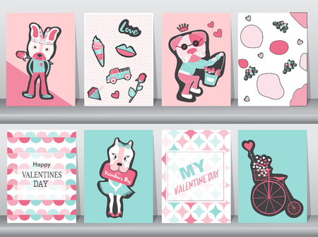 Set of Valentines day card on retro pattern design,love,animal,minimal,dog,cute,Vector illustrations Ilustração