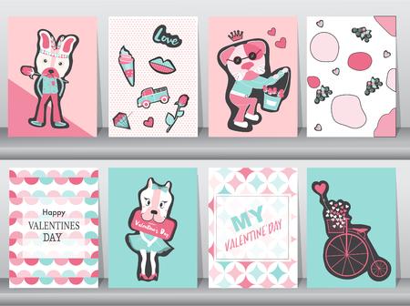 Set of Valentines day card on retro pattern design,love,animal,minimal,dog,cute,Vector illustrations Illustration
