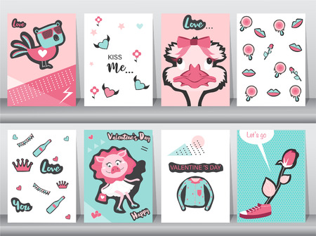 Set of Valentines day card on retro pattern design,love,animal,minimal,ostrich,cute,Vector illustrations
