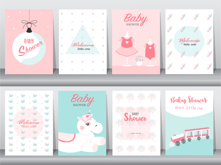 Set of baby shower invitation cards,birthday, poster,template, greeting,cute,Vector illustrations