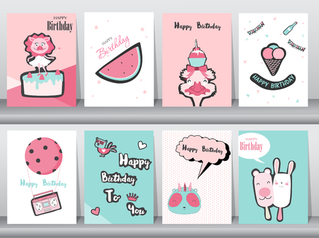 Set of birthday cards,poster,invitation cards,template,greeting cards,typography,old school,animals,cute,Vector illustrations