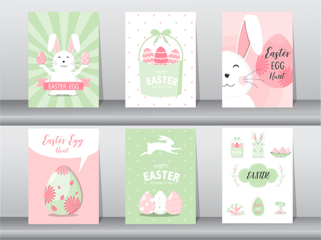 Set of cute Easter greeting cards template