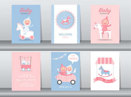 Set of cute birthday cards template