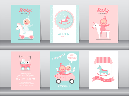 cute baby shower invitation card template. vector illustration