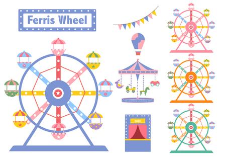 Set of Ferris Wheel colorful from amusement park, vector illustrations Illustration