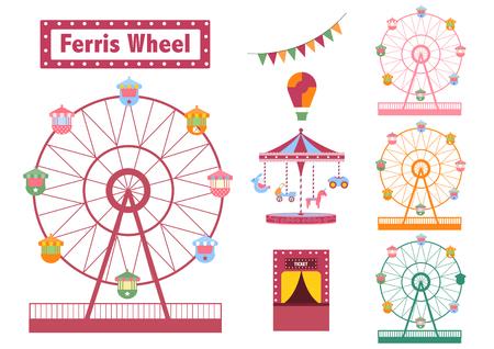 Set of Ferris Wheel colorful from amusement park, vector illustrations Stock Illustratie