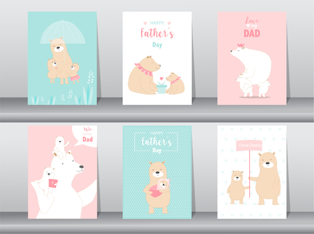 Set of cute Happy Fathers Day card template.Vector illustrations
